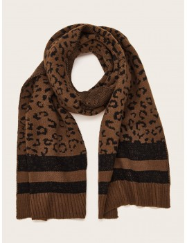 Braided Edge Leopard Scarf