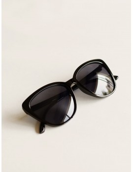 Cat Eye Flat Lens Sunglasses With Case