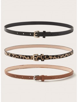 3pcs Leopard Pattern Buckle Belt