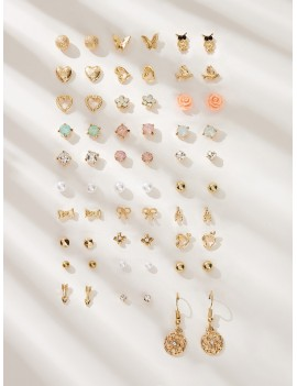 Bow Knot & Heart Decor Earrings 30pairs