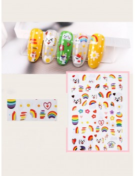 1 Sheet Rainbow & Egg Pattern Tattoo Sticker
