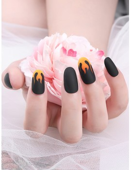24pcs Fire Pattern Fake Nails