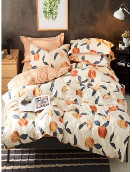 Peach Print Bedding Set