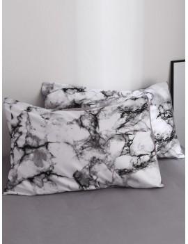 Marble Print Pillowcase Cover 1Pair