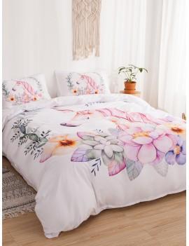 Unicorn & Flower Print Sheet Set