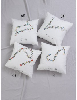 1pc Floral Detail Zodiac Constellation Cushion Cover