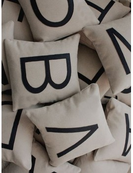 Letter Print Cushion Cover 1pc