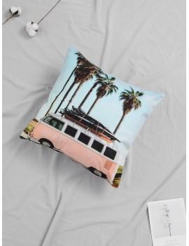 Retro Bus & Palm Print Cushion Cover