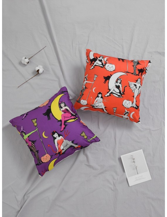 1pc Halloween Witch Print Cushion Cover