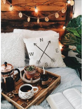 1pc Compass Arrow Print Cushion Cover