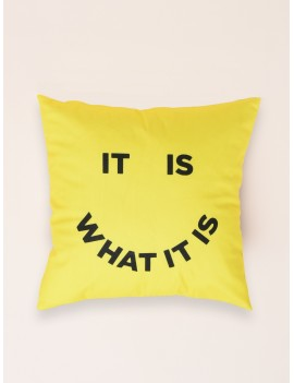 Slogan Smile Print Cushion Cover