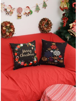 1pc Christmas Print Cushion Cover
