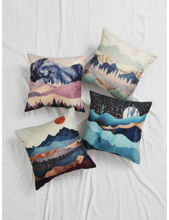 1pc Landscape Print Cushion Cover
