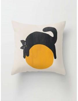 Cute Cat On Ball Print Cushion Cover
