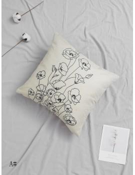 Stick Figure Floral Print Cushion Cover 1pc