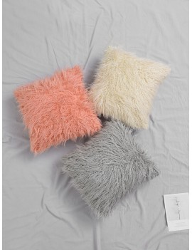 Solid Plush Cushion Cover 1pc