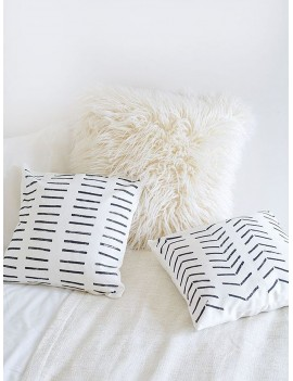 1pc Simple Line Print Cushion Cover