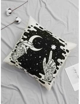 Hands & Galaxy Print Cushion Cover 1pc
