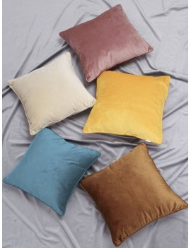 1pc Solid Color Velvet Cushion Cover