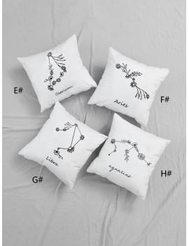 Floral Detail Zodiac Constellation Cushion Cover 1pc