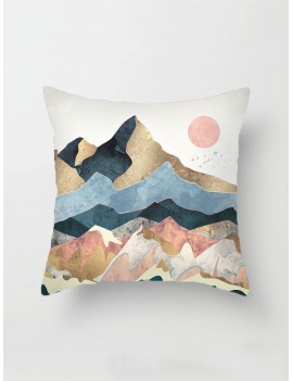 Mountain & Sun Print Cushion Cover
