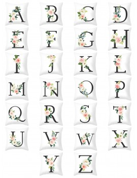Floral Letter Graphic Cushion Cover