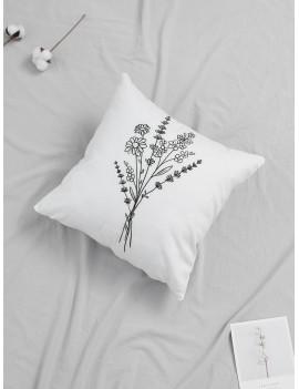 Line Draft Bouquet Print Cushion Cover