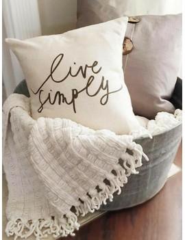 1pc Slogan Print Cushion Cover
