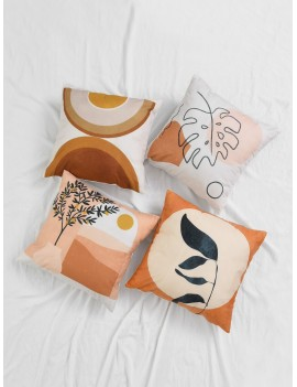 1pc Plant & Geometric Pattern Cushion Cover