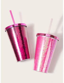 1pc Sequin Pattern Plastic Straw Bottle