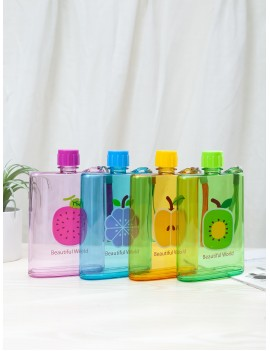 1pc Fruit Print Flat Plastic Water Bottle