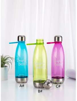 1pc Slogan Print Plastic Water Bottle