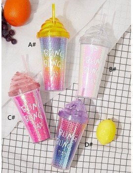 1pc Letter Graphic Sequin Straw Water Bottle
