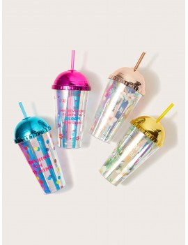 1pc Floral Pattern Laser Straw Bottle