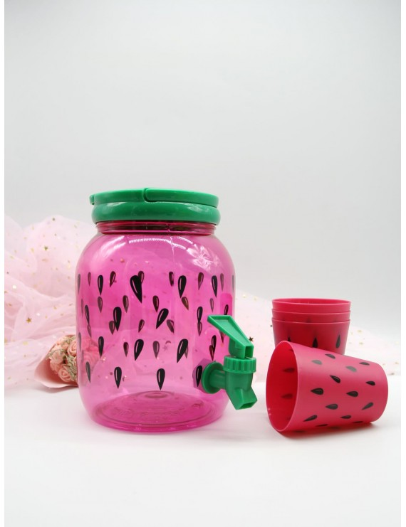 Watermelon Print Water Bottle With Faucet & 4pcs Cup