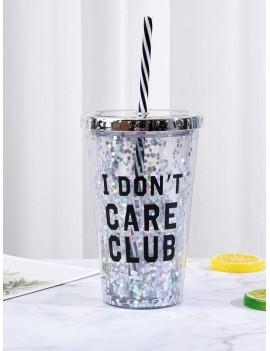Slogan Print Straw Cup 450ML