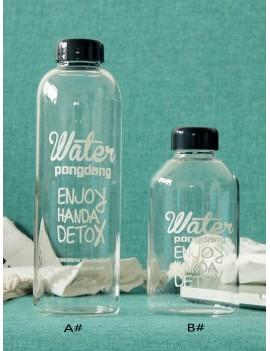 Slogan Print Water Bottle 1pc With Drawstring Bag