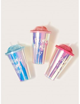 1pc Letter Graphic Laser Straw Bottle