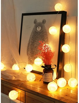 10pcs Cotton Ball Shaped Bulb String Light