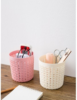 1pc Faux Woven Rattan Desktop Storage Basket