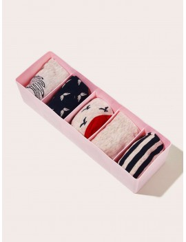 1pc 5 Grid Socks Storage Box
