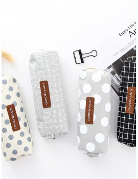 Dot & Plaid Print Pencil Case 1pc