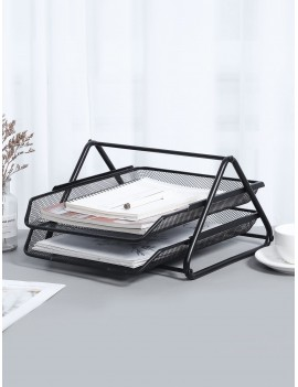 Double Layer Metal Magazine Storage Rack