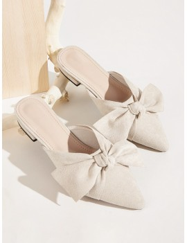 Bow Decor Suede Flat Mules