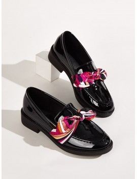 Bow Decor Patent Loafers