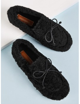 Bow Decor Fuzzy Flat Loafers