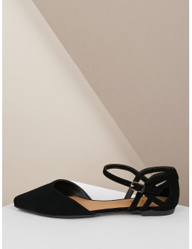 Cut Out Detail Pointy Toe Ankle Strap Ballet Flats