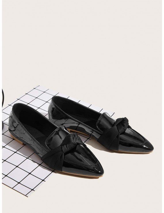 Point Toe Knotted Decor Flat Loafers