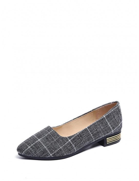 Plaid Detail Ballet Flats
