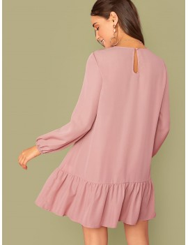 Keyhole Back Ruffle Hem Dress